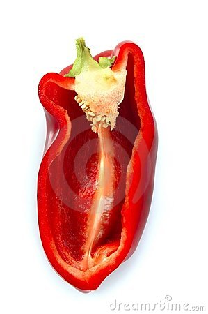 Free Half Red Pepper Isolated Over White Stock Photos - 8982683