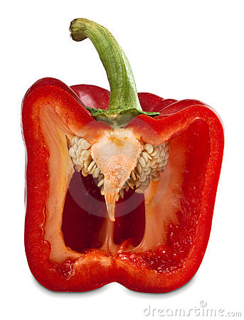 Half red pepper vegetable