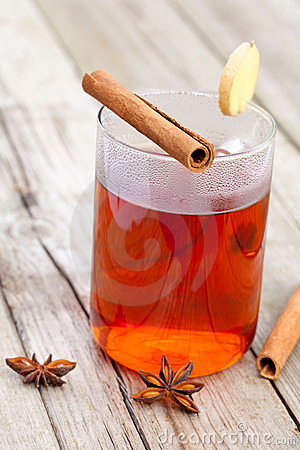 Half red tea with cinnamon sticks