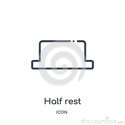 Half rest icon from music and media outline collection. Thin line half rest icon isolated on white background Vector Illustration