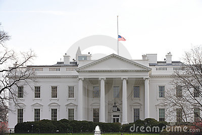 Half Staff American Flag at the White House Editorial Stock Image