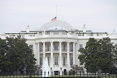 Half Staff American Flag at the White House Editorial Stock Photo