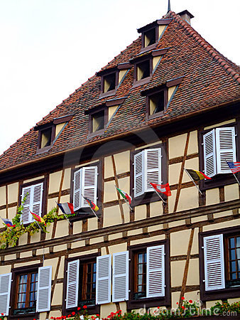 Half-timbered house facade in Alsace - Obernai