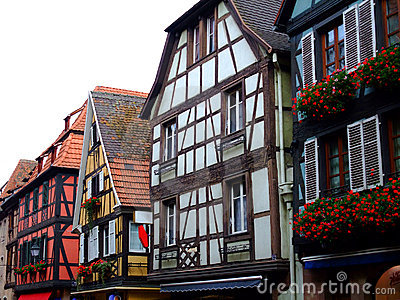 Half timbered of houses facades in Alsace
