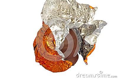 Half unwrapped chocolate foam kiss