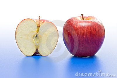 Half and whole apple