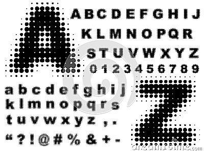 Halftone complete alphabet vector