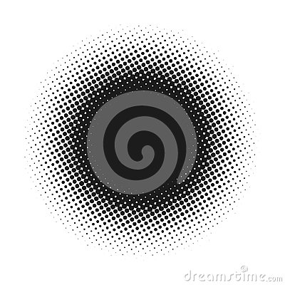 Halftone dotted vector abstract background, dot pattern in circle shape. Black comic banner isolated white backdrop Vector Illustration