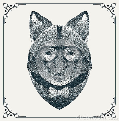 Halftone hipster wolf with black Dots. Vector Vector Illustration