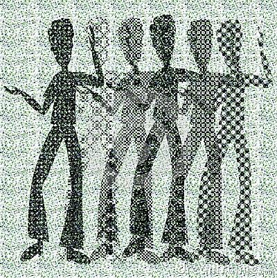 Halftone raster dancing boys