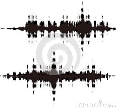 Halftone square vector elements.Vector sound waves