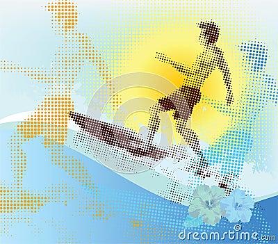 Halftone surfer