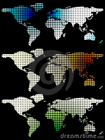 Free Halftone World Maps Over Black Royalty Free Stock Image - 6664796