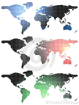 Halftone world maps over white