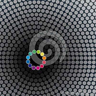 Halftoned dots circle mosaic background