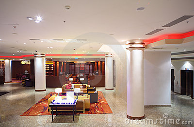 Hall with columns and furniture of hotel Editorial Photography