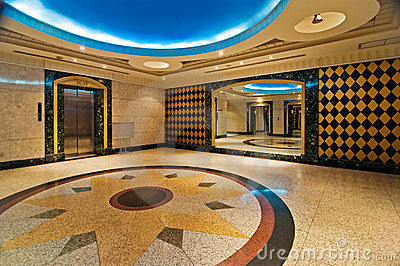 Hall with elevator of luxurious hotel