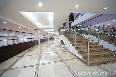 Hall with locker room and staircase Stock Photo