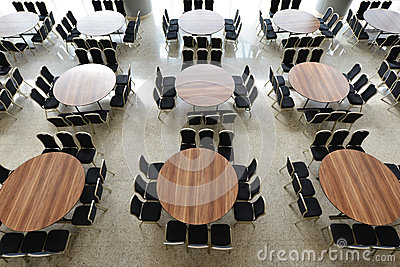 Hall with many table