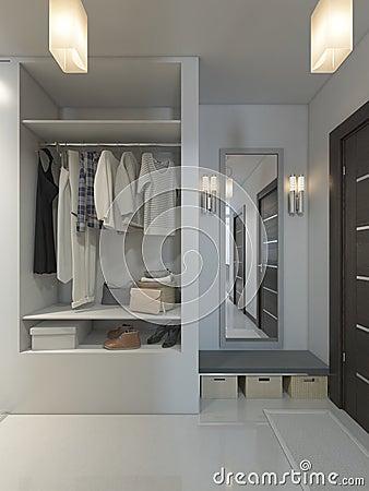 Hall Med En Korridor I Modern Stil Med En Garderob Och Ett Foton ...