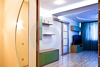 Hall with mirror and enter to room