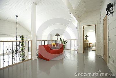 Hall with red sofa