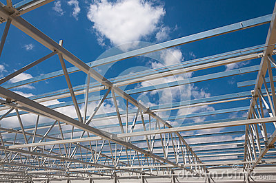 Hall steel structure construction site