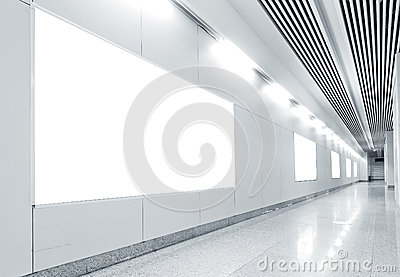 Hall subway station blank billboard
