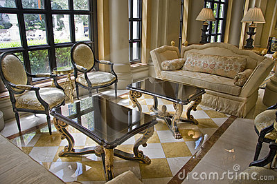 Hall with two elegant tea tables