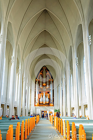 Hallgrimskirkja church interior Editorial Stock Photo