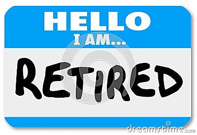 Hallo bin ich Wörter Nametag-Aufkleber-im Ruhestand ältere Person