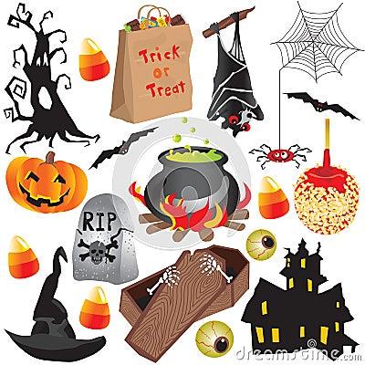 партия halloween элементов зажима искусства