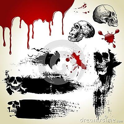 Halloween ajustou-se: texturas assustadores