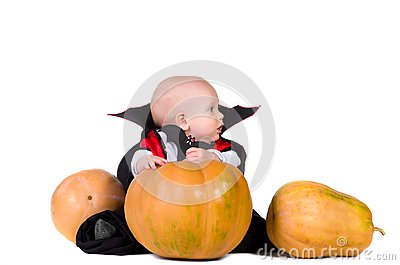 Halloween baby boy with pumpking 1