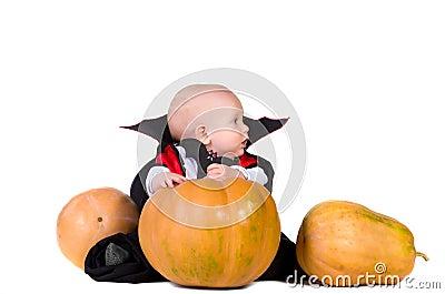 Halloween baby boy with pumpking 1