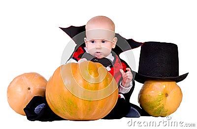 Halloween baby boy with pumpking 3