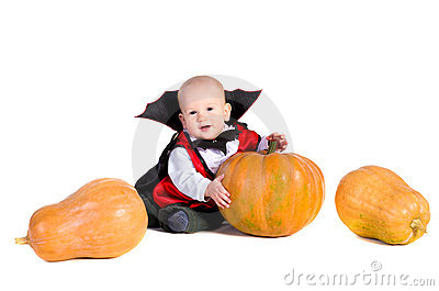 Halloween baby boy with pumpking 3