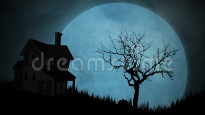 Halloween background animation with the house and moon. Luxury and elegant dynamic style for holiday template stock video