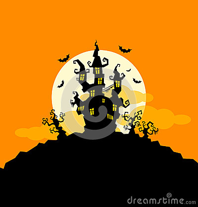 Halloween background with castle and trees