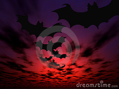 Halloween background. Flying bats