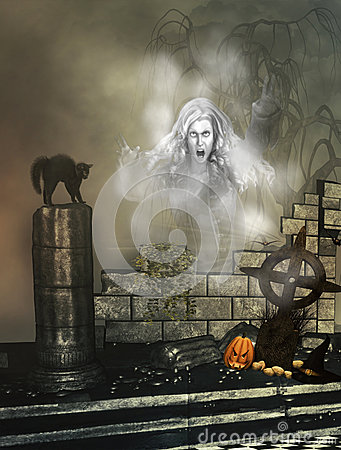 Halloween background with ghost
