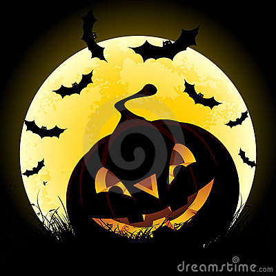Halloween background with pumpkin and moon