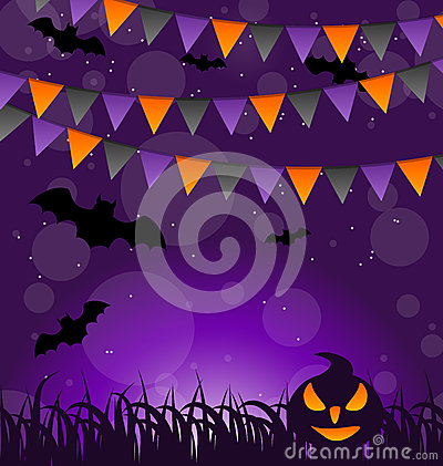 Halloween background with pumpkins and hanging fla