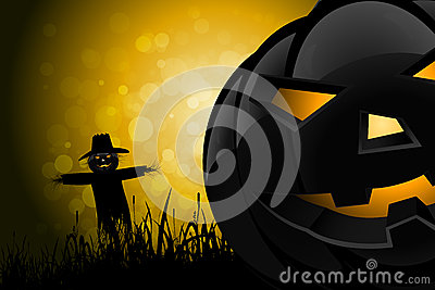 Halloween Background with Scarecrow and Pumpkin