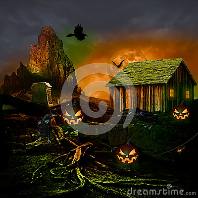 halloween background scary full moon haunted house