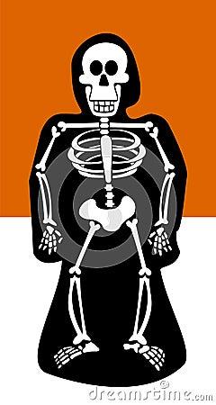 Halloween Background. Skeleton dressed in black