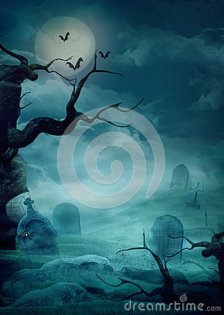 Free Halloween Background - Spooky Graveyard Royalty Free Stock Images - 26240179