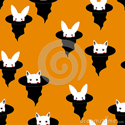 Free Halloween Background - White Rabbit And Cat In Witch Hat. Vector Illustration Stock Photos - 99045393