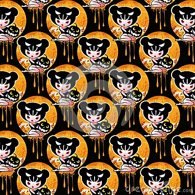 Halloween background with witch, pumpkin and skull