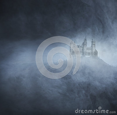 Free Halloween Background With A Spooky Castle On The Mountain Stock Photos - 45430953